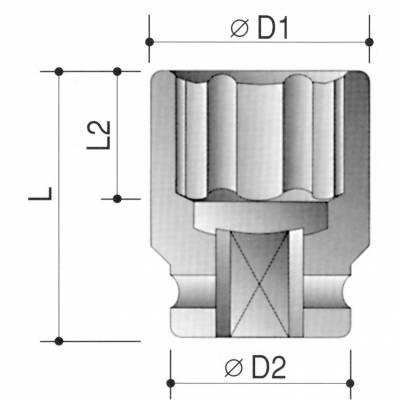 Erősített dugókulcs 1/2col meghajtóval 10mm
