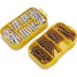 170 db-os forgácslapcsavar és műanyag tipli készlet, műanyag tároló dobozban EXTOL