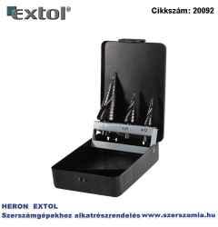 Lépcsős fémfúró készlet, 4-12 mm 1 mm lépcsők, 4-20 mm 2 mm, 4-32 mm 2 mm, befogás:10 mm, max.4 mm anyagokhoz