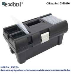 Szerszámosláda, műanyag, alucsatos, tálcával, fekete, lakatolható 16 col, 415 x 220 x 200 mm, rendező felül