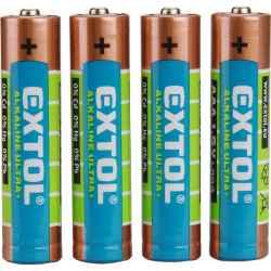 AAA alkáli 1,5V elem, 4db, hosszú élettartam LR03 EXTOL LIGHT
