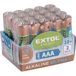 AAA alkáli 1,5V elem, 20db, hosszú étettartam LR03 EXTOL LIGHT