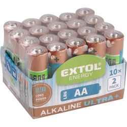 AA alkáli 1,5V elem, 20db, hosszú étettartam LR6 EXTOL LIGHT