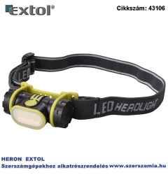LED fejlámpa, 2 W COB széles vetítőszögű 90 lumen, 3 funkció teljes, fél fényerő, villogás, cseppálló, elem nélkül