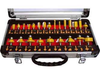EXTOL CRAFT felsőmaró készlet 24 db-os, alu kofferben, 8mm-es befogással, keményfém lapkás