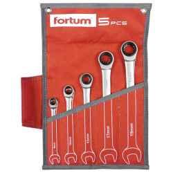 FORTUM racsnis csillag-villás kulcs készlet, 72fog, mattkróm, 61CrV5/S2, 8-10-13-17-19mm, 5 db-os