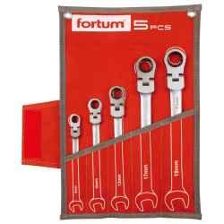 FORTUM csuklós racsnis csillag-villás kulcs készlet, 72fog, mattkróm, 8-10-13-17-19mm, 5 db-os