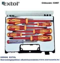Csavarhúzó készlet szigetelt 1000V, 7 db-os - 2,5, 4, 5,5, plusz ph 0,1,2, fáziskereső, műanyag kofferban