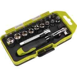 23 db-os bit és dugókulcs készlet racsnis hajtókarral, CrV., műanyag dobozban EXTOL CRAFT