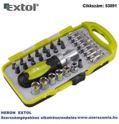 Racsnis bit dugókulcs, csavarhúzó készlet, 30 db-os, CRV., irányváltós, mágneses, műanyag dobozban