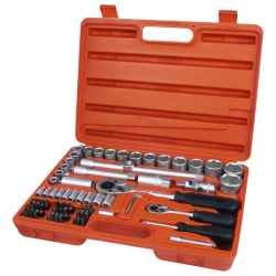EXTOL PREMIUM 75 db-os dugókulcs készlet, 1/4col-1/2col, 4-32mm, C.V., racsnis 45fog