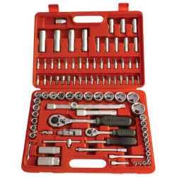 EXTOL PREMIUM 94 db-os dugókulcs készlet, 1/4col-1/2col, 4-32mm, C.V., racsnis 45fog