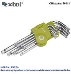 TORX kulcs készlet, Cr40. 9 db-os egyik vége lyukas T10,15,20,25,27,30,40,45,50, bliszteren
