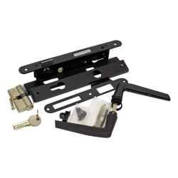 25 x 85 x 22mm 1231 fekete portálzár, váltós, 4cm, plusz betét, kilincs