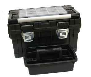 Műanyag, erős, profi szerszámosláda, 595 x 345 x 355mm, fémcsatos, tálcával, fekete, lakatolható