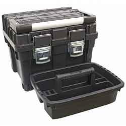 Műanyag szerszámosláda profi erős, 440x345x355mm, fémcsatos, tálcával, fekete, lakatolható, ALU nyél