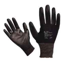 Fekete kötött nylon kesztyű, PU mártott tenyér és ujjhegy, méret:10 BUNTING BLACK