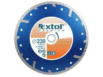 EXTOL PREMIUM, TURBO plus gyémántvágó 230mm, száraz és vizes vágáshoz, vágási mélység: 4,0 cm