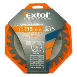 115 x 22,2mm, T24 körfűrészlap, keményfémlapkás, 2,6mm lapkaszélesség, max 11000 ford/perc EXTOL PREMIUM