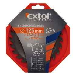 125 x 22,2mm, T24 körfűrészlap, keményfémlapkás, 2,6mm lapkaszélesség, max 10000 ford/perc EXTOL PREMIUM