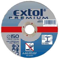 EXTOL PREMIUM vágókorongok fémhez 125x2,5x22,2mm, max 12200 ford/perc 5db/csomag