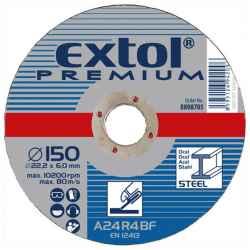 EXTOL PREMIUM csiszolókorongok acélhoz, kék 125x6,0x22,2mm, max 12200 ford/perc