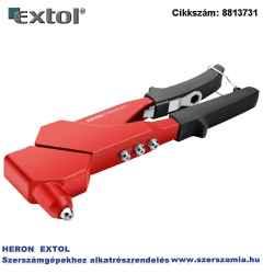 Popszegecshúzó fogó, forgatható fejű, egykezes, ALU és réz, szegecsekhez 2,4-3,2-4,0-4,8 mm, 280mm
