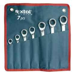 EXTOL PREMIUM racsnis csillag-villás kulcs készlet, C.V., 45fog, 1 irányú forgás, 8, 10, 12, 13, 14, 17, 19 mm, 7 db-os