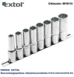 Hosszított MULTI LOCK dugófej készlet 1/2 col, 8 db-os 10, 12, 13, 14, 16, 17, 19, 22 mm, tartó sínen
