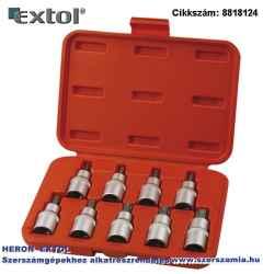 Bitdugófej készlet, 9 db-os TORX, 1/2 col x 55 mm T20-25-27-30-40-45-50-55-60, S2 acé