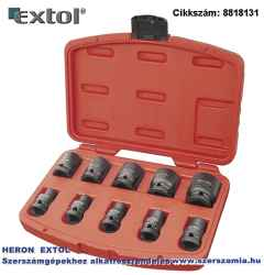Gépi IMPAKT dugófej készlet 1/2 col, 10 db-os 9-27 mm x 37 mm feketített, műanyag tartóban