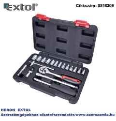 Dugókulcs készlet CV., 45fog 1/4 col, 19 db-os dugófejek: 4-14 mm