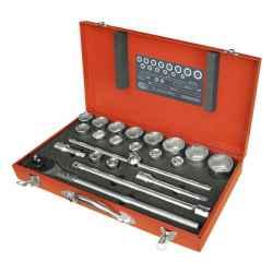 EXTOL PREMIUM 22 db-os dugókulcs készlet, 19-50mm, CV., 24 fogú racsni, fém koffer