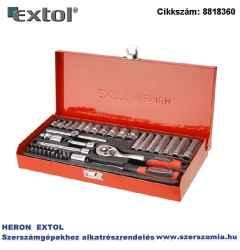Dugókulcs készlet, CV., racsnis 45fog 1/4 col, 45 db-os 4-14 mm, fém doboz