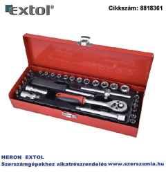 Dugókulcs készlet, CV., racsnis 45fog 1/4 col normál 4-14 mm dugófejek, bitdugófej imbusz, TORX, fém doboz