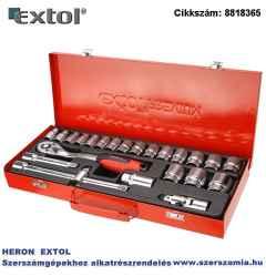Dugókulcs készlet, CV., racsnis 45fog 1/2 col 24db, 10-32 mm, fém doboz