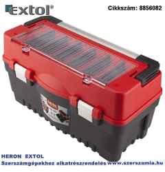 Szerszámosláda, műanyag 595 x 289 x 328 mm, fémcsatos, tálcával, lakatolható, alu nyél