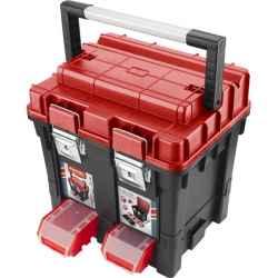 Profi erős műanyag szerszámosláda, 440 x 350 x 440mm, fémcsatos, tálcával, lakatolható, ALU nyél EXTOL PREMIUM