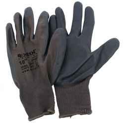 Kötött nylon kesztyű, szürke, nitrilbe mártott tenyér és ujjhegy, gumírozott mandzsetta méret:10 EXTOL PREMIUM