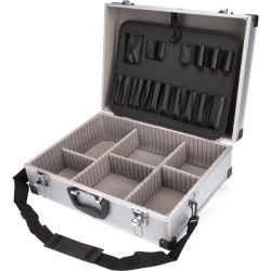 Alumínium szerszámostáska koffer 460x330x155 mm, ezüst színű, hordszíjjal