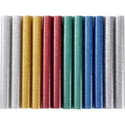 Ragasztóstift, csillogó többszínű, 100 x 11 mm, 12db/bliszter