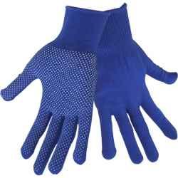 Pöttyözött csúszásgátló kötött kesztyű, fehér PVC pöttyökkel, kék, méret:8 EXTOL CRAFT