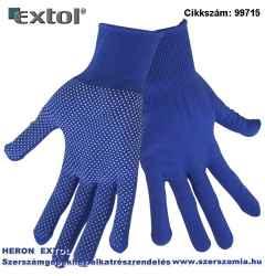 Kötött kesztyű, kék, pe, fehér pvc pöttyökkel, méret:10