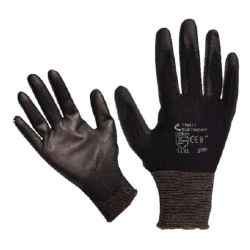 Kötött kesztyű fekete nylon, S-es méret 7`, poliuretánba mártott teny. és ujjhegy., gumírozott mandzsetta