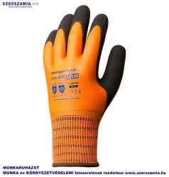 EUROWINTER Téli narancs kesztyű, Latex tenyérpluszcsb réteg, méret: 8, 1 pár