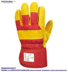 Bőrkesztyű, téli, sárga marhahasíték/piros vászon, polár, méret: 8, 1 pár