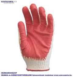 Mártott piros Latex kesztyű, kötött, kevertszálas kézhát, méret: 10, KIFUTÓ termék 10pár / csomag