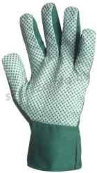 Kertészkesztyű, varrott zöld pamut, zöld pettyes tenyér, férfi, méret: 9, 12pár / csomag
