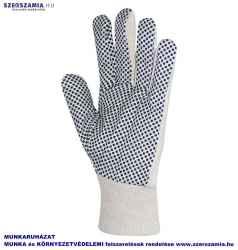 Kertészkesztyű, varrott fehér pamut, fekete PVC pettyekkel, méret: 9, KIFUTÓ termék 12pár / csomag