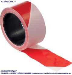 Öntapadós piros/fehér jelzőszalag, méret: 66m, 1 darab
